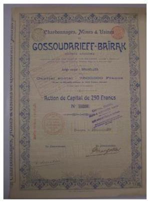 Антикварная акция на 250 франков Charbonnages, Mines & Usines De Gossoudarief-Baїrank
