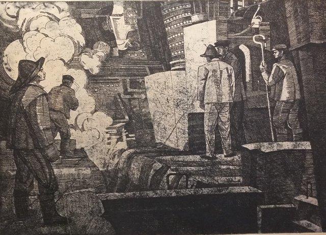 """купить гравюру  Кацко З. """"Перший чавун"""", офорт, 1973 г."""